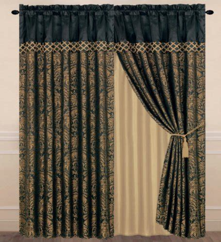 black and gold drapes chezmoi collection lisbon 4 jacquard floral window