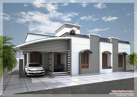 Single Floor Kerala House Elevation White Grey - House