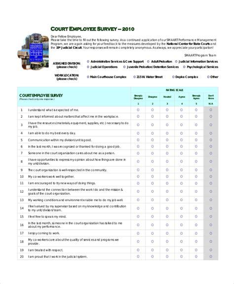 employee survey sle employee satisfaction survey form 9 free documents in pdf