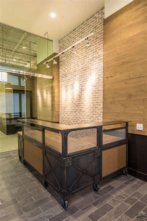industrial cl l design handmade custom l shaped reception desk metal wood