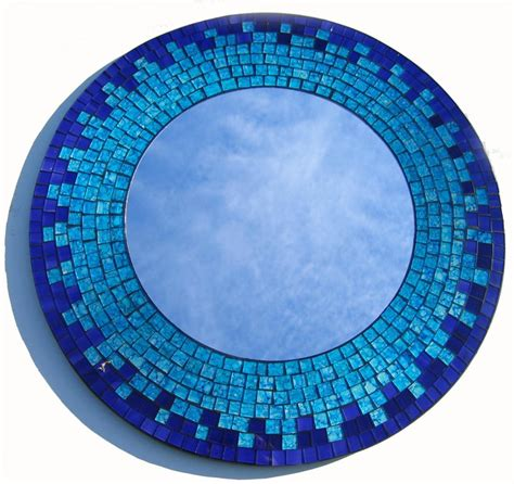 turquoise blue mosaic tiles wall mirror 40cms ebay