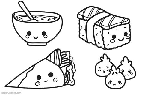 cute food coloring pages lineart  printable coloring