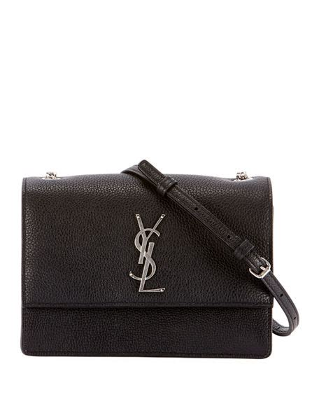 saint laurent monogram ysl sunset small chain pebbled