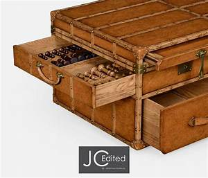 travel trunk style coffee games table With travel trunk coffee table
