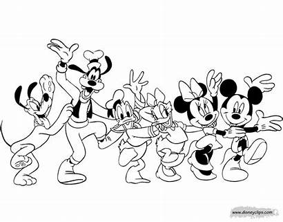 Mickey Friends Mouse Coloring Disney Disneyclips Line