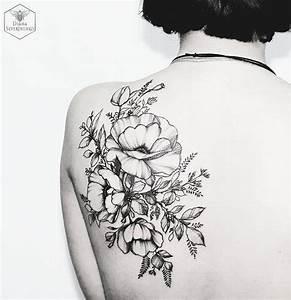 black floral tattoo by Diana Severinenko | Body Mods