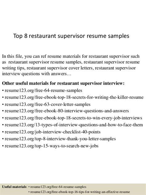 Resume For Restaurant Supervisor by Top 8 Restaurant Supervisor Resume Sles