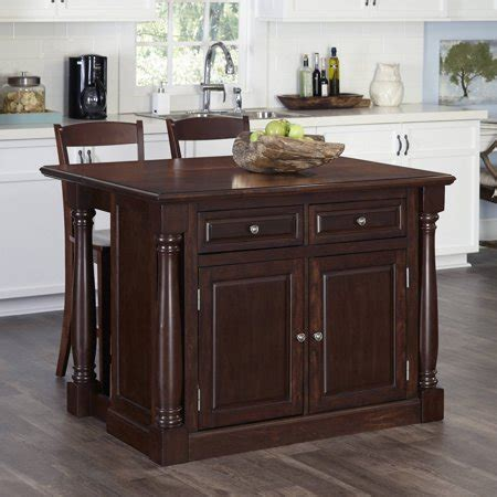 Kitchen Island with Two Stools in Cherry Finish   Walmart.com