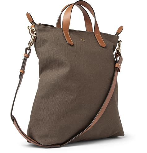lyst mismo leathertrimmed canvas tote bag in green for