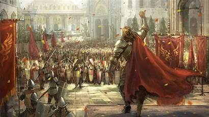 Medieval Knights Army Fantasy March Flags Wallpapers