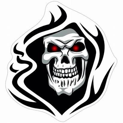Skull Hood Glowing Eyes Sticker Skeleton Evil