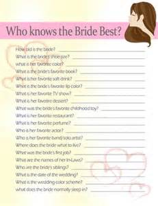 Best Bridal Shower Game Who Knows the Bride
