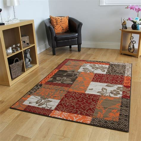 Living Room Without Rugs by New Warm Orange Modern Patchwork Rugs Small Large