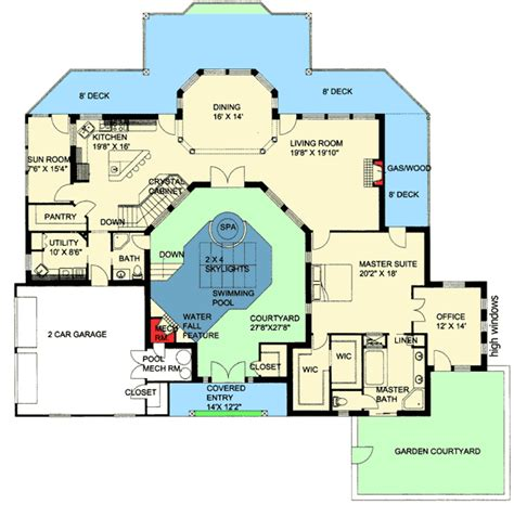 home plans with courtyard northwest home with indoor central courtyard 35459gh