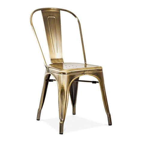 chaise style tolix xavier pauchard style brass brushed side chair café