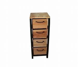 Petit Meuble En Bois : petit meuble de rangement chiffonnier industriel en acier et bois petit meuble de rangement ~ Teatrodelosmanantiales.com Idées de Décoration
