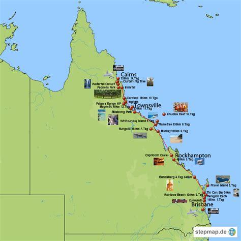 australien ostkueste von bhaes landkarte fuer queensland