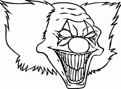 Clown Scary Face Drawing Evil Drawings Coloring