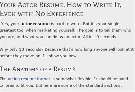 How To Write A Resume For Acting Auditions by Your Actor Resume Format Your Resume Even With No Experience Ace Your Acting