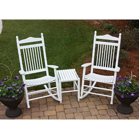 dixie seating 3 pc spindle rocking chair set with side