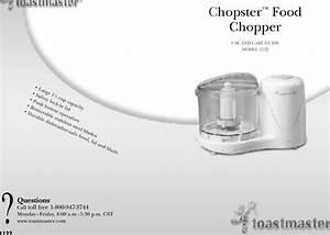 Toastmaster 1122 Users Manual Food Chopper Reformat Tl