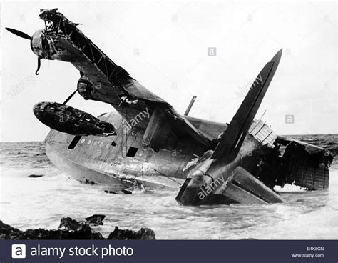 Flying Boats Of Ww2 by An Raf Sunderland Flying Boat After Landing In The Sea And