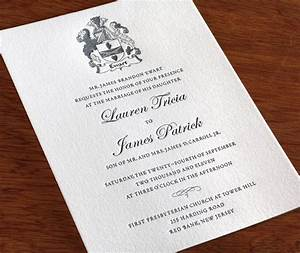 classic letterpress wedding invitation family crest With wedding invitation for relatives