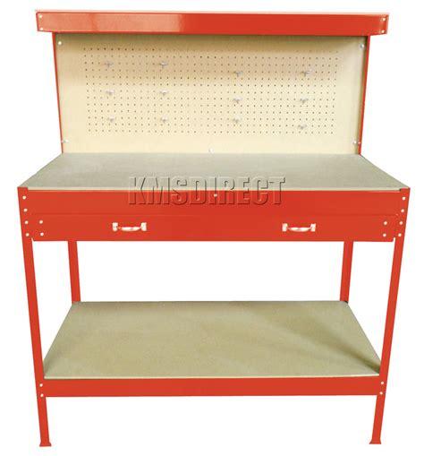 red steel tools box workbench garage workshop table