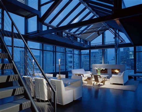 minimalist penthouse apartment overlooking  seattle skyline