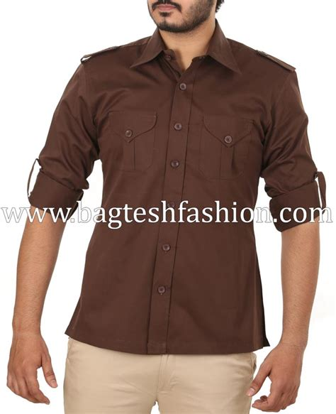 mens chocolate brown hunting bush shirtbrown