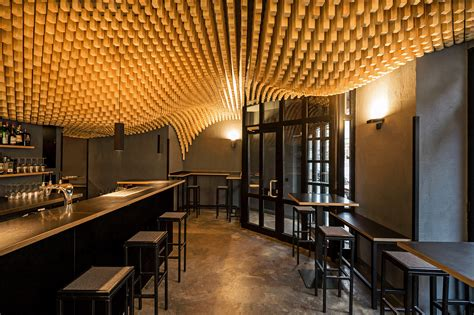 Bar Ceiling Design by Parametric Wooden Ceiling Trisoux Bar By Martino Hutz