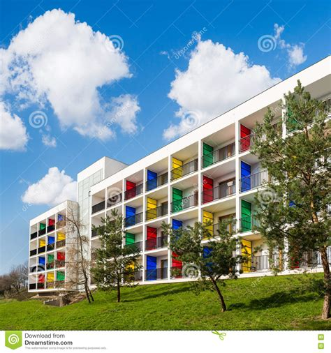 Modern Block Of Flats With Colorful Balconies Green