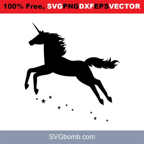 A depiction of the invisible pink unicorn. Unicorn Flying Star   SVGbomb.com