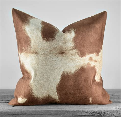 faux cowhide pillows pillow cover faux cowhide brown cow suede by kathleenannhome