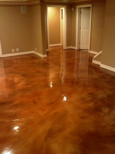 zep floor finish for stained concrete basement acid concrete stain i m really liking this