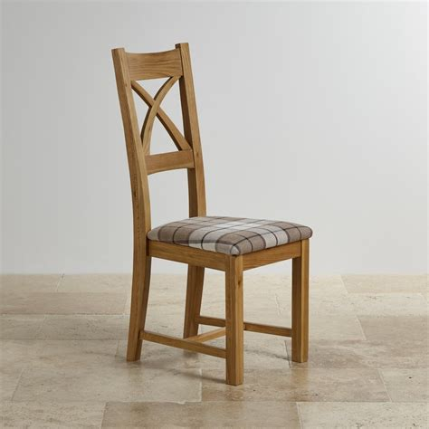 cross  dining chair  natural oak brown check