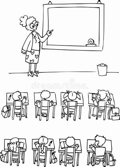 Classroom Pupils Coloring Teacher Clip Scholastic Vector