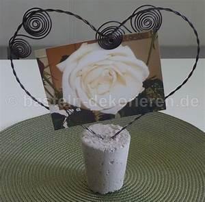 Mit Draht Basteln : foto oder kartenhalter aus beton und draht basteln und dekorieren ~ Watch28wear.com Haus und Dekorationen