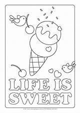 Sweet Coloring Colouring Pages Printable Sheets Colour Ice Cream Sheet Icecream Treats Gorgeous sketch template