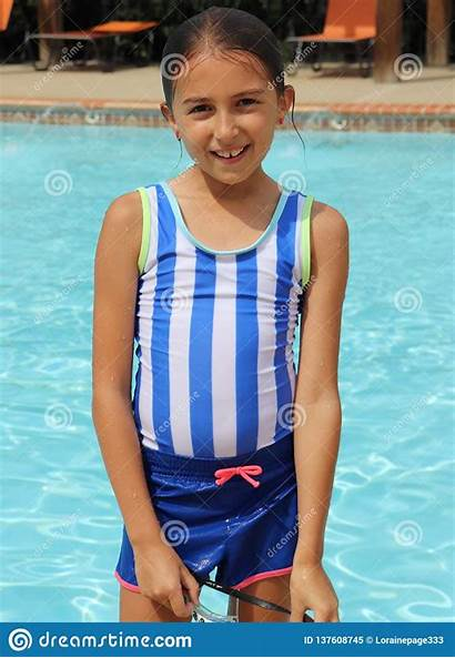 Swimsuit Pool Summer Fun Tween Young Smile