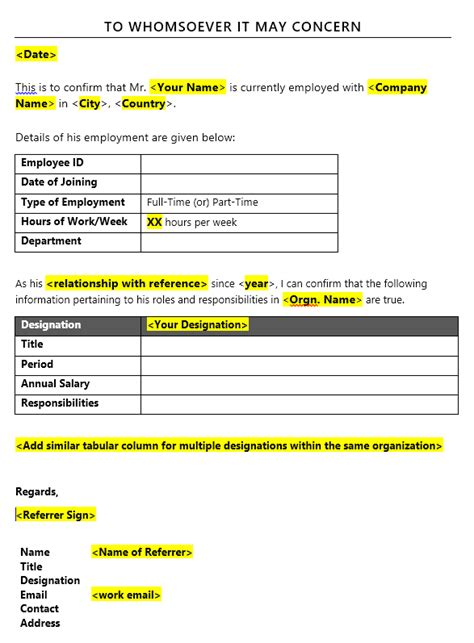 purpose   format   reference letter