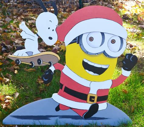 lawn stake snoopy minion christmas decorations yard art