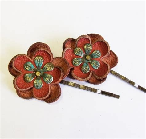 Bobby Hair Pin Set leather flower bobby pin hair pin set of 2 9 00 681team
