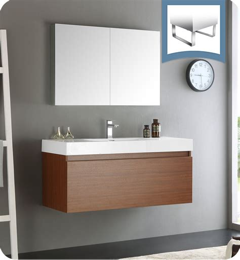 designer bathroom vanity cabinets fresca fvn8011tk mezzo 48 quot teak wall hung modern bathroom