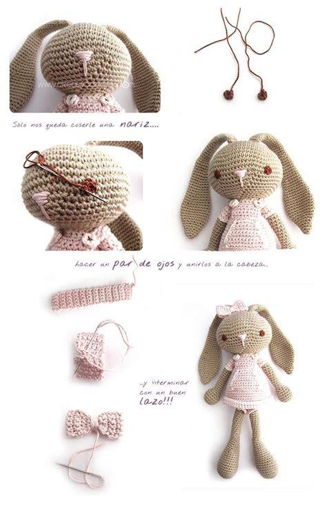 peluche de crochet conejita de orejas largas amigurumi