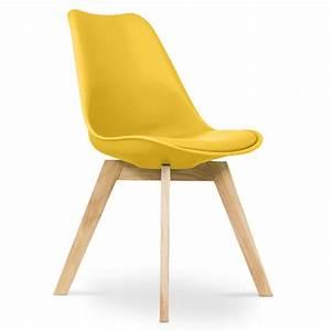 Coussin Pour Chaise Scandinave : chaise scandinave avec coussin simili jaune inspir ~ Dailycaller-alerts.com Idées de Décoration