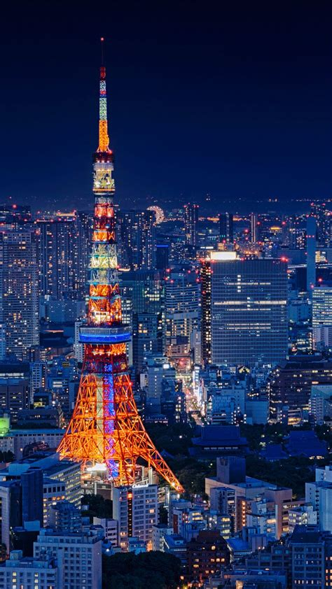 tokyo tower japan night cityscape places wallpapers
