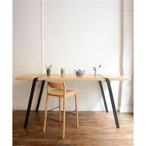 pi02 treteaux acier pied metal brut noir ou blanc pour table a manger contenporaine bois ou