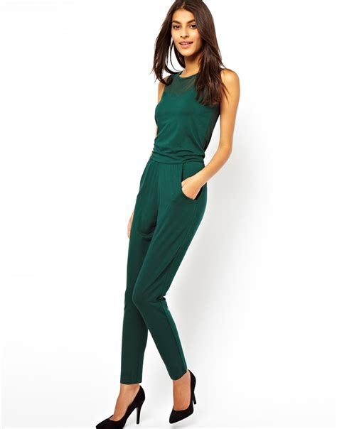 asos jumpsuit asos exclusive jumpsuit with mesh insert in green lyst