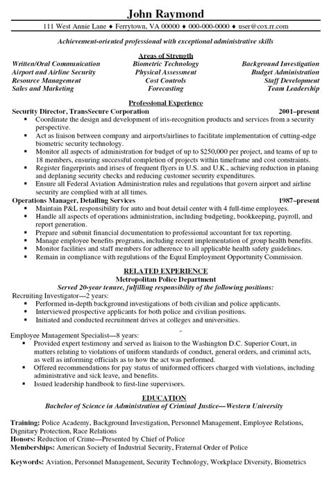 Security Resume Templates by Director Of Security Resume Exles